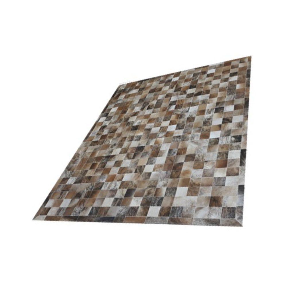 Tapete de Couro de Boi 2,5m X 2m Natural Costurado 10cm x 10cm Com Borda - OF25