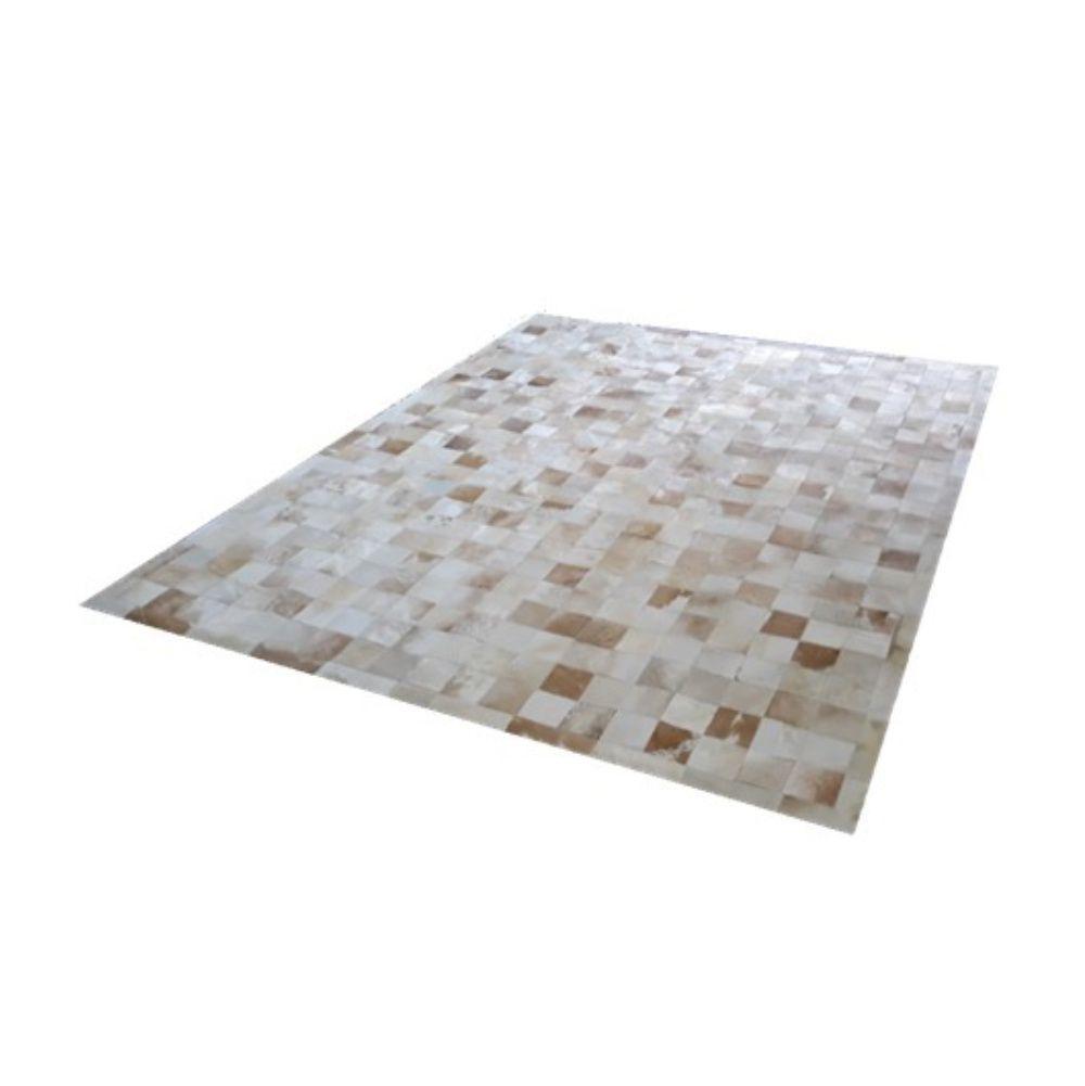 Tapete de Couro de Boi 2,5m X 2,0m Natural Costurado 10cm x 10cm Com Borda - ASV28