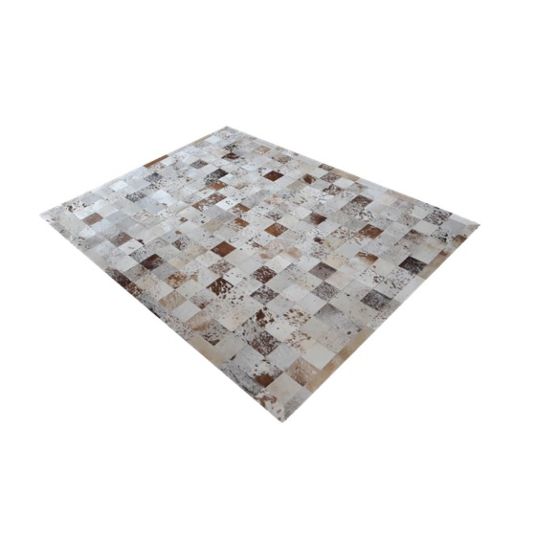 Tapete de Couro de Boi 2,5m X 2,0m Natural Costurado 10cm x 10cm Com Borda - OF30