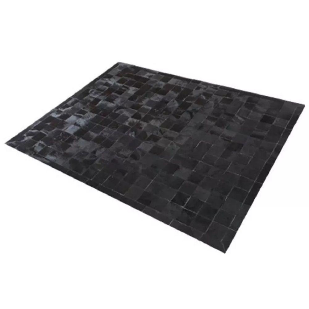 Tapete de Couro de Boi 2,5m X 2,0m Natural Costurado 7cm x 7cm Com Borda - ASV32
