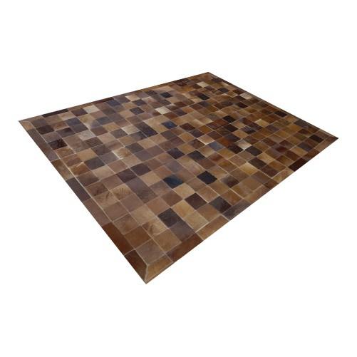Tapete de Couro de Boi 2,5m X 2,0m Natural Costurado 10cm x 10cm Com Borda - OF40