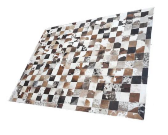 Tapete de Couro de Boi 2,5m X 2m Natural Costurado 7cm x 7cm Com Borda - OF03