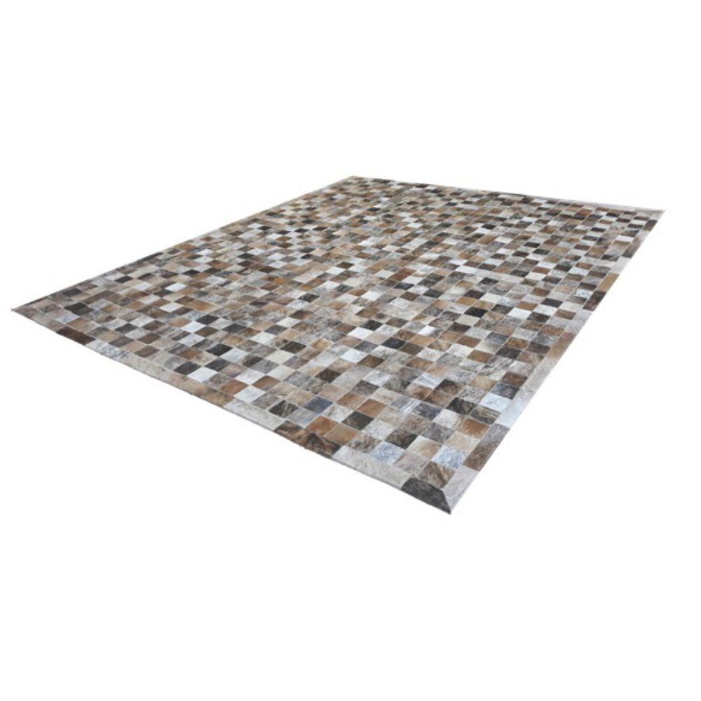 Tapete de Couro de Boi 2,5m X 2,0m Natural Costurado 7cm x 7cm Com Borda - ASV25