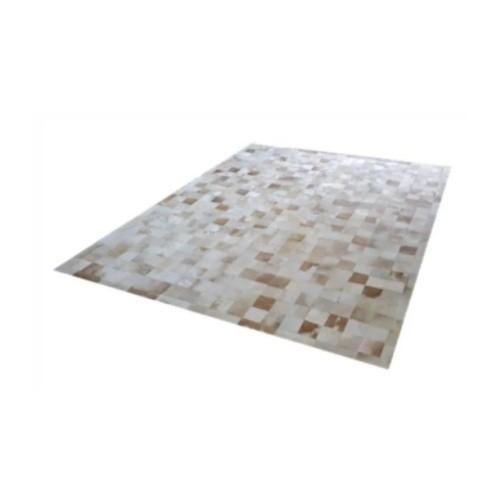 Tapete de Couro de Boi 2,5m X 2,0m Natural Costurado 7cm x 7cm Com Borda - ASV28
