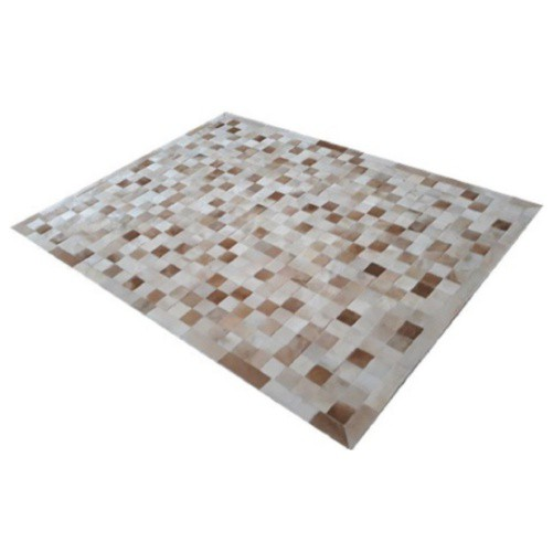 Tapete de Couro de Boi 2,5m X 2,0m Natural Costurado 7cm x 7cm Com Borda - OF35
