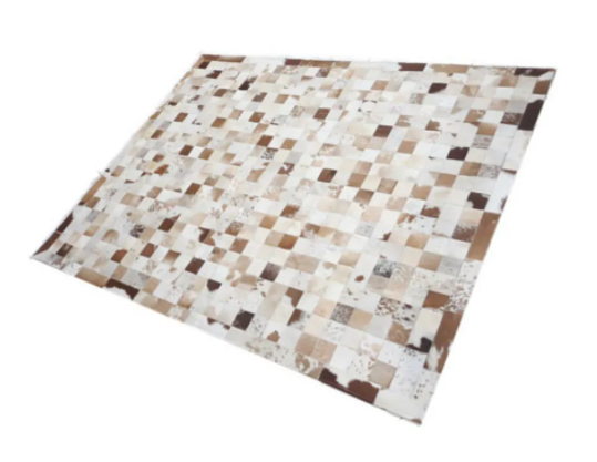 Tapete de Couro de Boi 2,5m X 2m Natural Costurado Placas 10cm x 10cm Com Borda - OF01