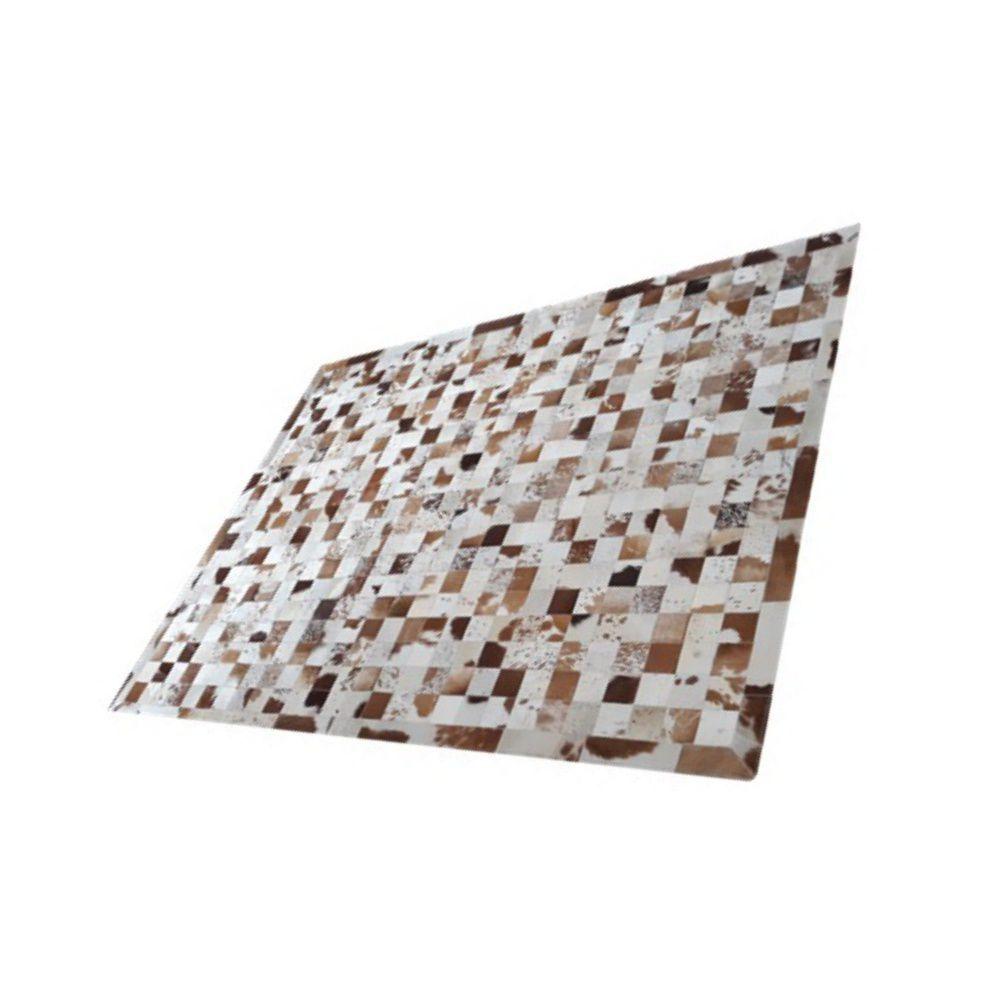 Tapete de Couro de Boi 2m X 1,5m Natural Costurado 07cm x 07cm Com Borda - OF26