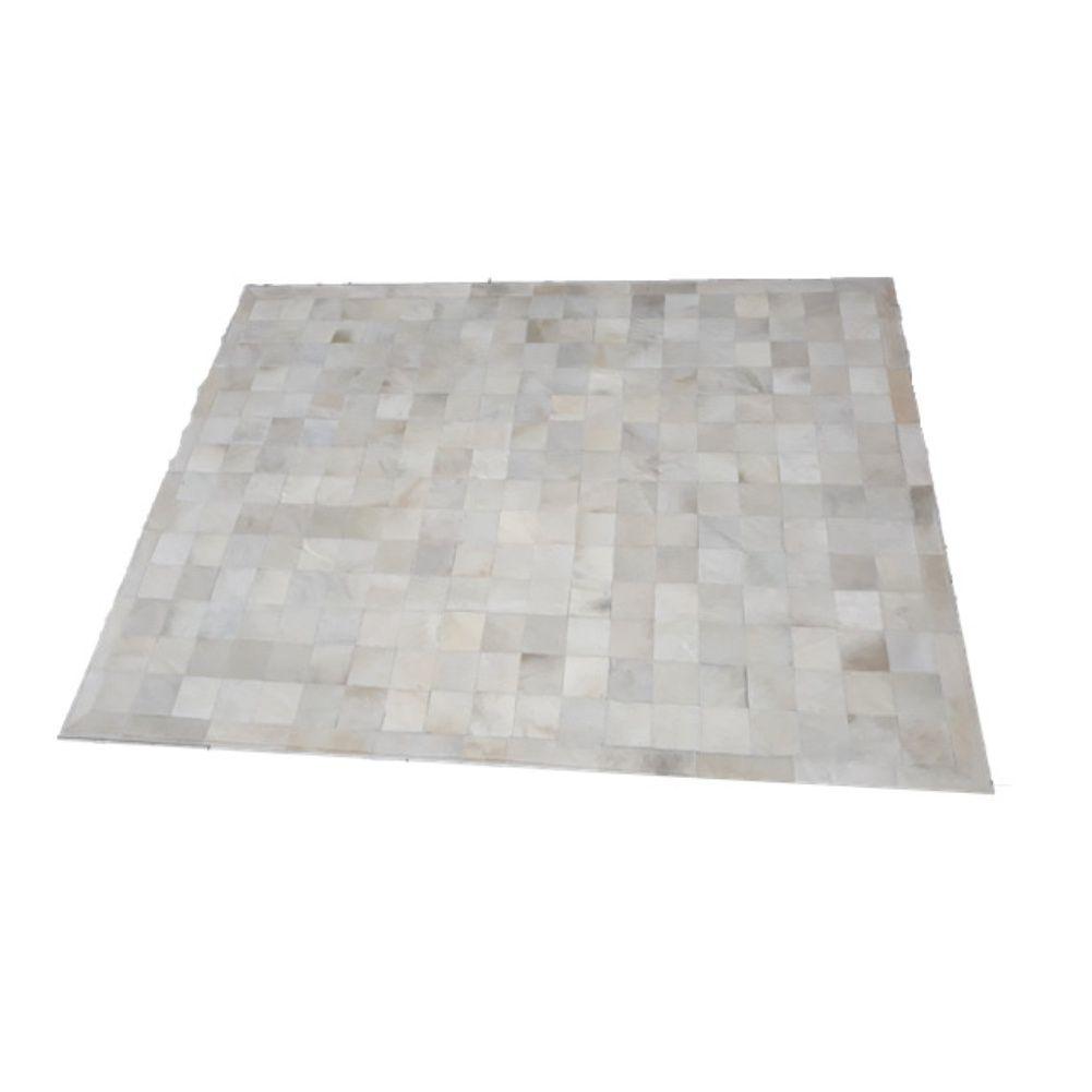 Tapete de Couro de Boi 2,0m X 1,5m Natural Costurado 10cm x 10cm Com Borda - ASV09