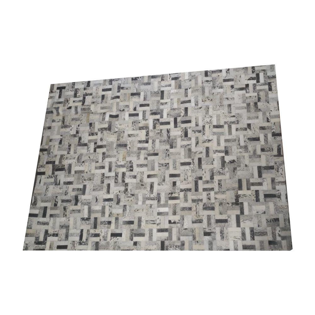 Tapete de Couro de Boi 2m X 1,5m Natural Costurado 3cm x 9cm Com Borda - OF33
