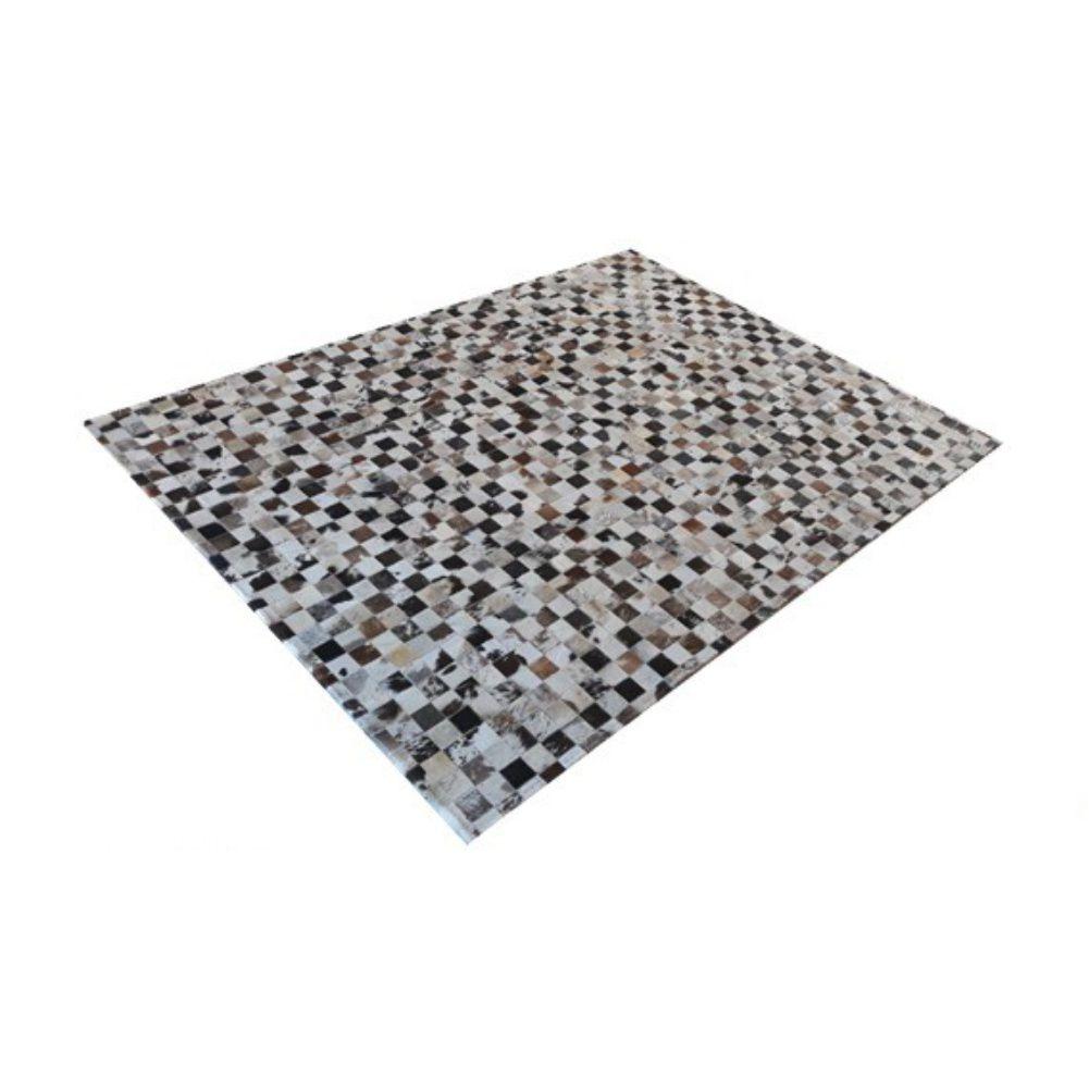 Tapete de Couro de Boi 2,0m X 1,5m Natural Costurado 5cm x 5cm Com Borda - ASV03