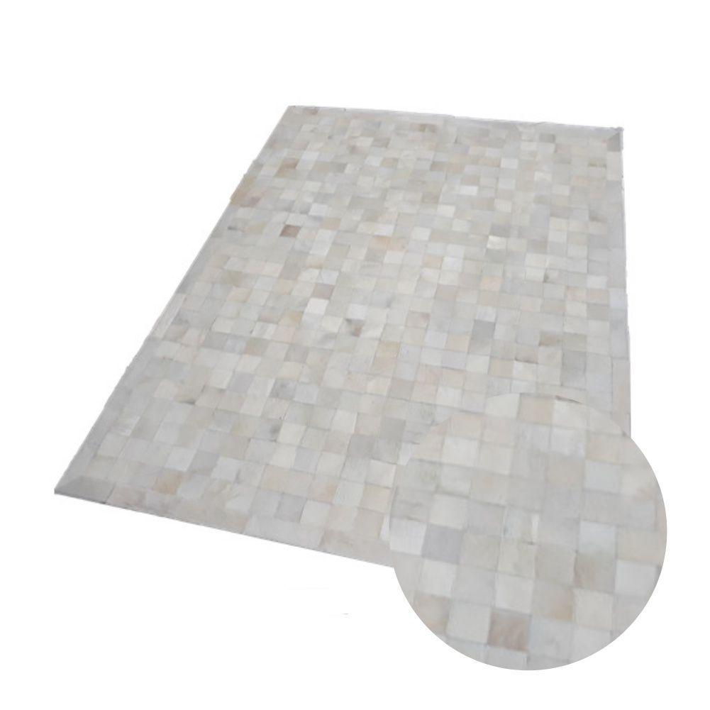 Tapete de Couro de Boi 2,0m X 1,5m Natural Costurado 7cm x 7cm Com Borda - ASV09
