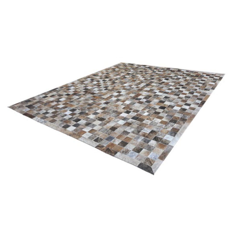 Tapete de Couro de Boi 2,0m X 1,5m Natural Costurado 7cm x 7cm Com Borda - ASV25
