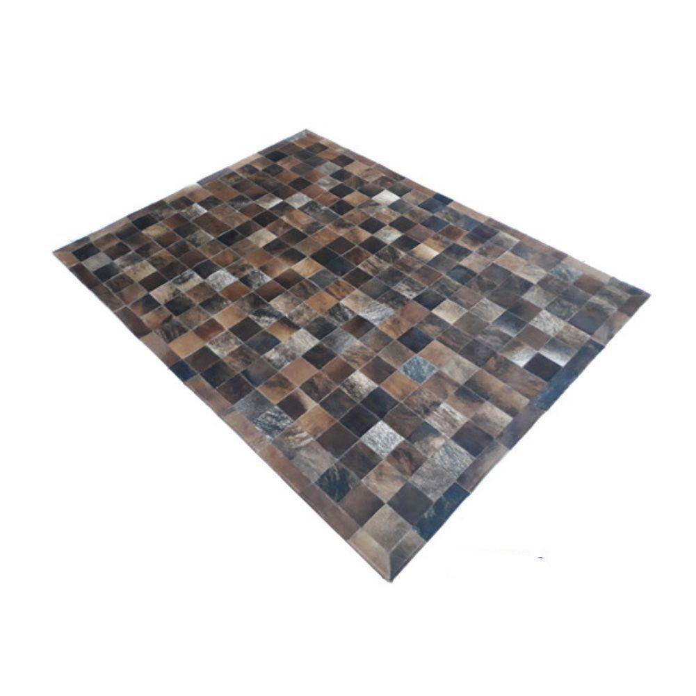 Tapete de Couro de Boi 2m X 1,5m Natural Costurado Placas 10cm x 10cm Com Borda - OF07