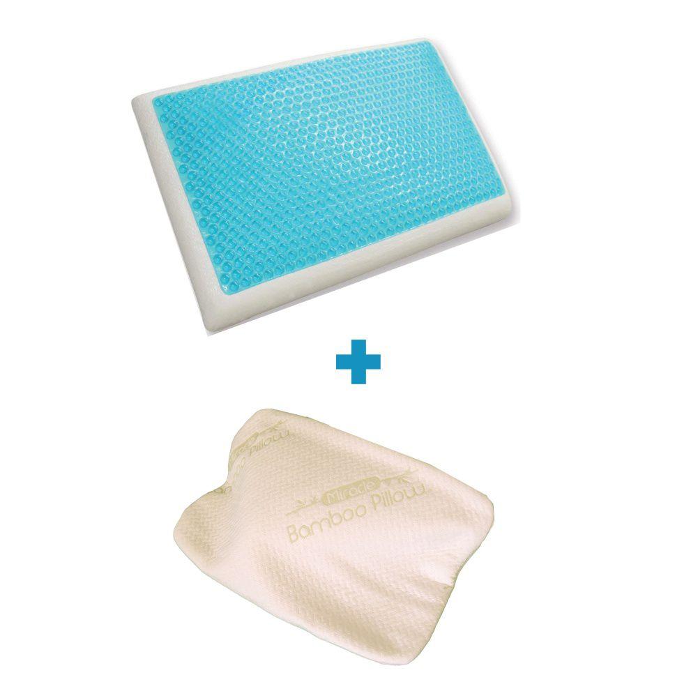 Travesseiro Nasa Original Gel Refrescante Espuma Viscoelástica com capa ecológica de fibra de bambu