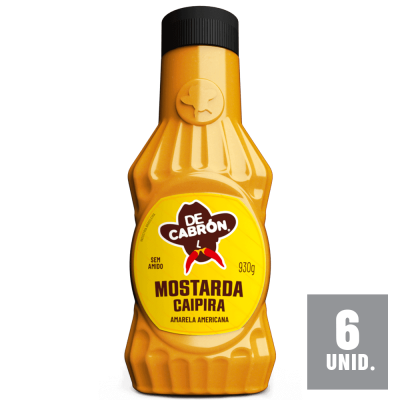 Caixa 6 unid. molho Mostarda Amarela Caipira Food Service 930g