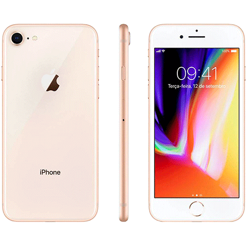 iPhone 8 Apple 64GB 4G Tela 4,7 Retina Cam. 12MP + Selfie 7MP iOS 11