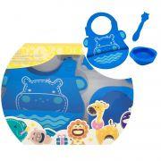 kit alimentação infantil em silicone colher + babador + tigela Hipopótamo - Marcus & Marcus