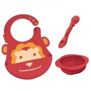 kit alimentação infantil em silicone colher + babador + tigela Leão - Marcus & Marcus