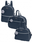 Kit bolsa de maternidade com mala e mochila Marinho Berlim - 3 pçs - Hug
