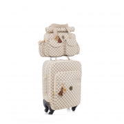 Kit bolsa Maternidade e mala de rodinha escocesa Caramelo - Lequiqui