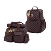 Kit de bolsas Maternidade e mochila Escocesa Marrom - Lequiqui