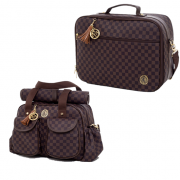 Kit de mala de maternidade e bolsa escocesa marrom - Lequiqui