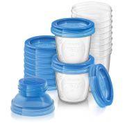 Kit de potes para Armazenamento de leite materno com Tampa - Philips Avent