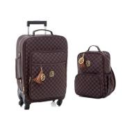 Kit mala de maternidade com rodinha e mochila escocesa marrom - Lequiqui