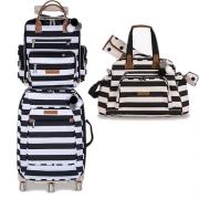 Kit mala de rodinha com bolsa de maternidade e mochila Brooklin preta e branca - Masterbag Baby