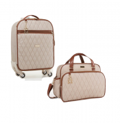 Kit mala de rodinha e bolsa Chicago bege - Just Baby