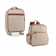 Kit mala de rodinha e mochila Chicago bege - Just Baby