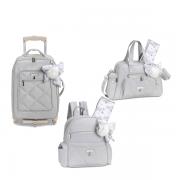 Kit mala maternidade com rodinha, bolsa e mochila Lu Urso Cinza - Masterbag Baby