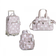 Kit mala maternidade com rodinha, bolsa e mochila Urban Bubble Rosa - Masterbag Baby