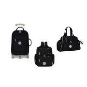 Kit mala maternidade com rodinha, bolsa e mochila Urban Nylon Glow preta - Masterbag Baby