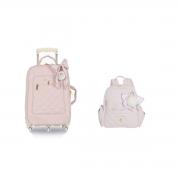 Kit mala maternidade com rodinha e mochila Lu Ballet Rosa - Masterbag Baby