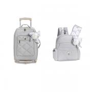 Kit mala maternidade com rodinha e mochila Lu Urso Cinza - Masterbag Baby