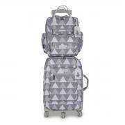 Kit mala maternidade com rodinha e mochila Urban Nórdica Cinza - Masterbag Baby