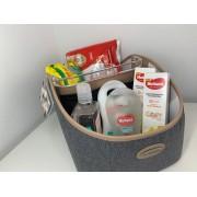 Kit porta fralda com produtos Huggies cinza - Lequiqui