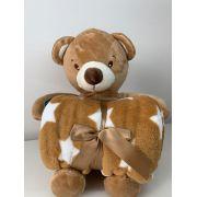 Manta com bichinho de pelúcia - Coleção carinhosos Urso marrom