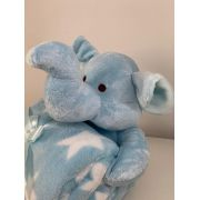 Manta com bichinho de pelúcia - Coleção Floresta Elefante azul