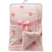Manta de bebê Dupla face estrelinhas rosa - Buba