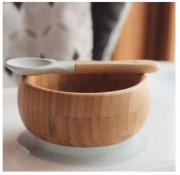 Tigela de bambu com ventosa e colher de silicone cinza - Avanchy