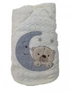 Toalha de banho bebê forrada com capuz e bordada 70x80 Urso bege
