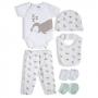 Kit presente bebê 6 pçs branco Suedine 100% algodão - Tip Top