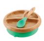 Prato de bambu com ventosa e colher de silicone Verde - Avanchy
