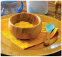 Tigela de bambu com ventosa e colher de silicone Azul - Avanchy