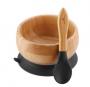 Tigela de bambu com ventosa e colher de silicone Preta - Avanchy