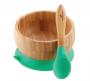 Tigela de bambu com ventosa e colher de silicone Verde - Avanchy