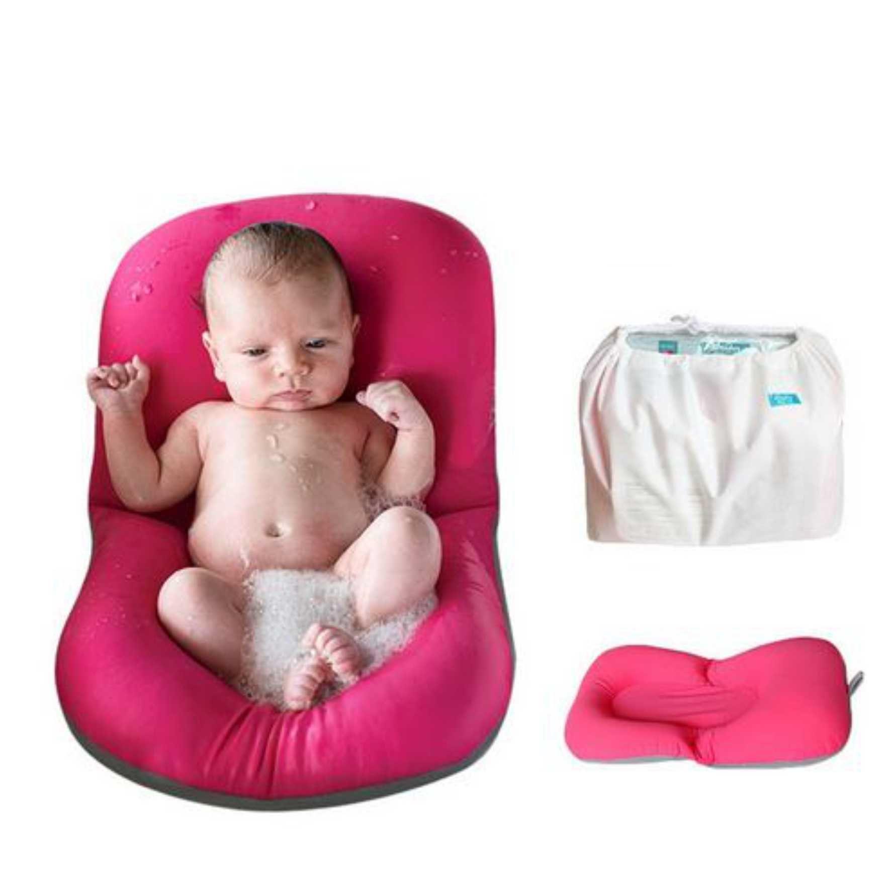 Almofada para banho do bebê rosa