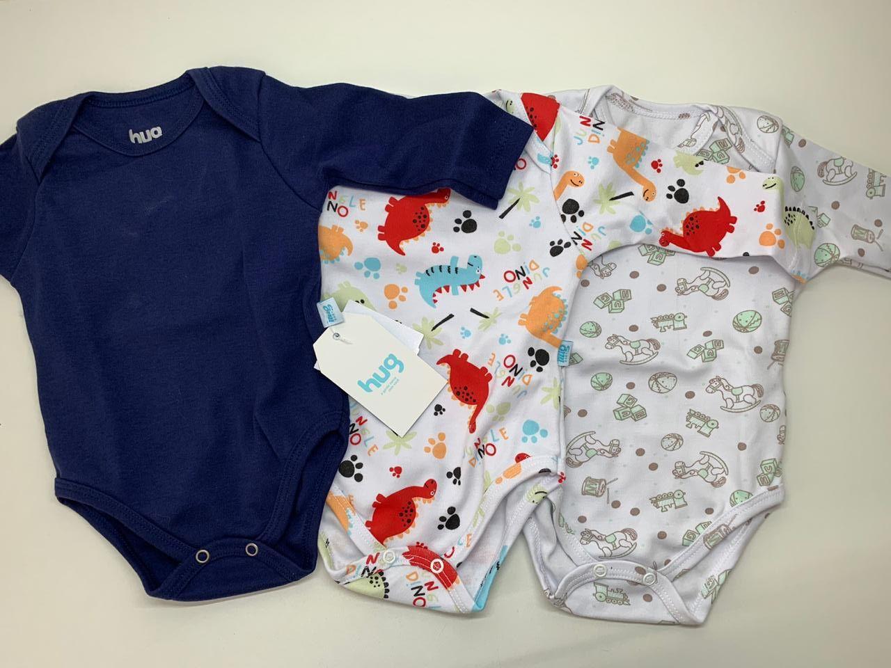 Body bebê manga longa HUG - Kit 3 pçs - Masculino - Tamanho P